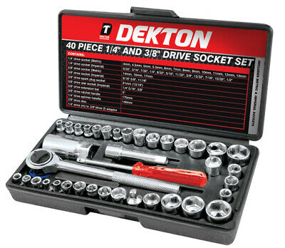 Professional 40pc 1/4  & 3/8  Socket Driver Set Metric Imperial Ratchet Bolts • 9.99£