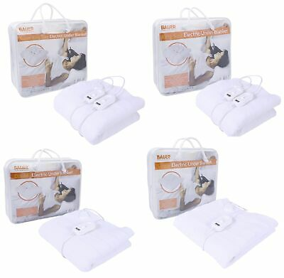 BAUER Heated Electric Under Blanket Tie Down Comfy Single Double King - All Size • 18.99£