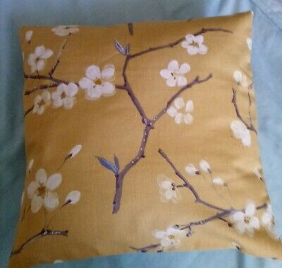 16  Cushion Cover Mustard Orche Background With Cream Oriental Flowers New  • 3£