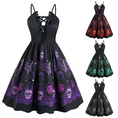 AU24.14 • Buy Gothic Retro Women Skeleton Printed Prom Dress Ball Gown Party Costume Halloween