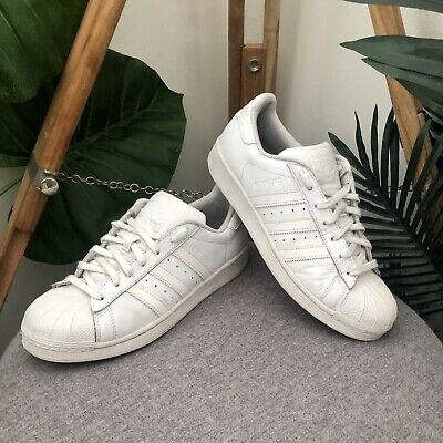 AU39.99 • Buy Adidas Superstars Sneakers Mens Size 8 Triple White Leather Trainers Shoes