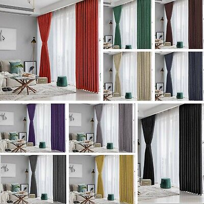 £20.59 • Buy Blackout Curtains Thermal Pencil Pleat Tape Top - Energy Saving + Tie Backs