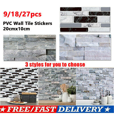 9x Mosaic Wall Tile Stickers Stick On Kitchen Bathroom Self-adhesive Home Decor • 6.49£