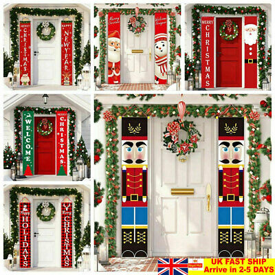 Merry Christmas Door Curtain Wall Hanging Banner Xmas Party Home Decor Ornaments • 8.29£