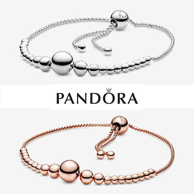 Genuine Silver Pandora String Of Beads Slider Bracelet Box & Polishing Cloth • 25.99£