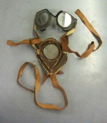 $0.99 • Buy RARE Antique WWI Military Pilot's Flight Goggles / Leather Mask & Steel Mesh WW1