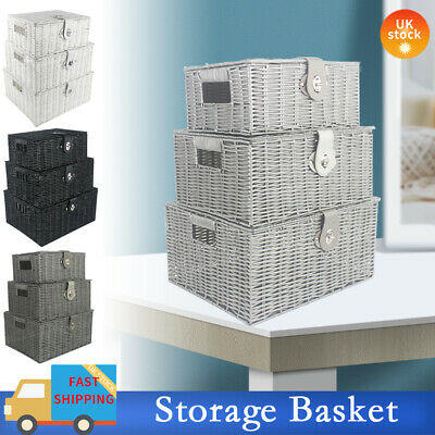 SET OF 3 Storage Baskets Resin Wicker Woven Hamper Tidy Box With Lid & Lock New • 14.99£