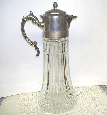 $99.99 • Buy Antique Glass Ewer Pitcher With Silver Lid Carafe