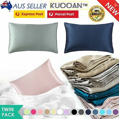 AU14.99 • Buy 2PCS Silk Satin Pillow Case Cover Solid Standard Bedding Smooth Soft Pillowcase