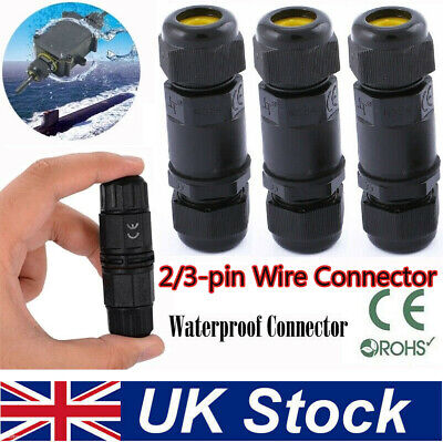 2 Pin 3Pin Core Joint Outdoor IP68 Waterproof Electrical Cable Wire Connector UK • 2.84£