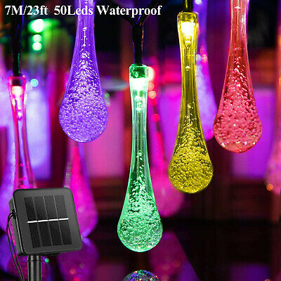 AU20.39 • Buy RGB 50 LED Solar String Fairy Crystal Teardrop Lights Xmas Garden Outdoor Party