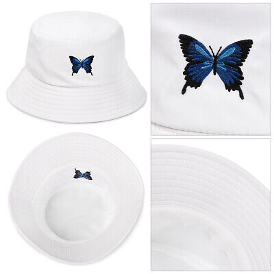 Foldable Bucket Hat Fisherman Cap Sun Hat Embroidered Butterfly Cotton Outdoor • 5.89£