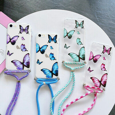 For IPhone 11 7 8 XS XR Cross Body Butterfly Phone Case Cover Neck Lanyard Strap • 4.79£