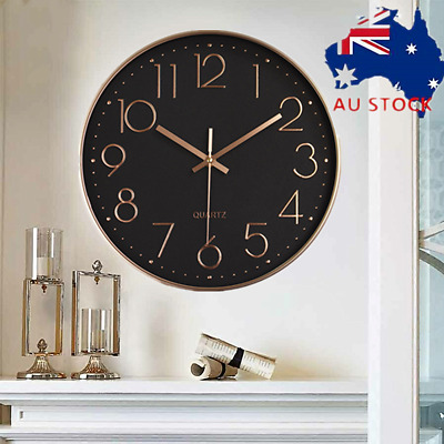 AU20.79 • Buy 12'' Wall Clock Quartz Round Wall Clock Silent Non Ticking Battery Operated AU