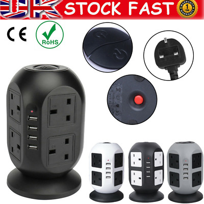 8 Way Surge Protected Tower Extension Lead Socket Plug With 4 USB Port 10 A • 19.49£