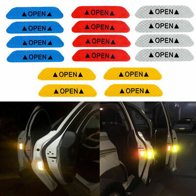 4Pcs Open Sign Warning Mark Car Door Stickers Safety Reflective Tapes Universal • 4.64£