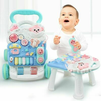 4 In 1 Baby Walker First Steps Activity Bouncer Musical Toys Car Push Along Tool • 19.94£
