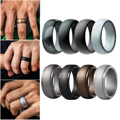 4 Pack Silicone Band Ring For Men Women Wedding Step Edge Rubber Wedding Ring UK • 5.99£