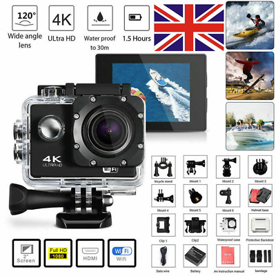 SJ9000 Action Camera 4K 1080P WiFi Camcorder Waterproof DV Sports Cam Underwater • 25.80£