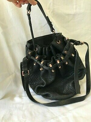 AU214 • Buy Alexander Wang Diego Bucket Bag - Black Leather With Rose Gold Hardware