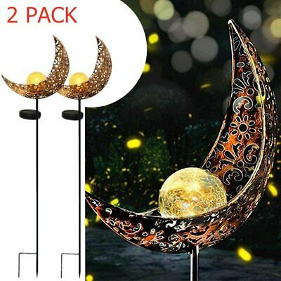 2PACK Solar Garden Light Metal Moon Crackle Glass Globe Stake Light Waterproof • 18.13£