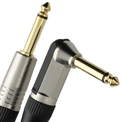 £5.11 • Buy GOLD Right Angle MONO Jack 6.35mm Guitar/Amp LOW NOISE Cable Lead  4m