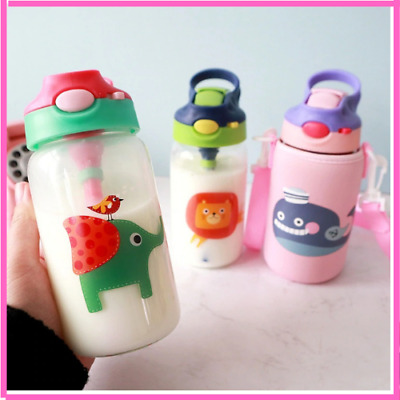 Animals Glass Water Bottle With Straw Bag Strap Carrier Locking Top Lid For Kids • 19.10£