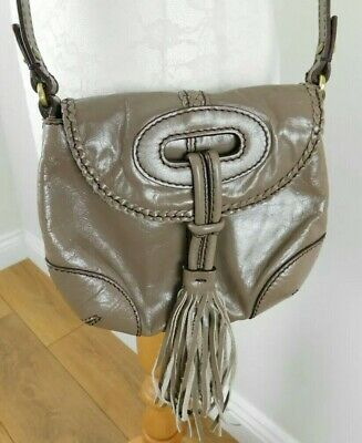 £12 • Buy Small Tula Taupe Tassle Patent Leather Crossbody Bag