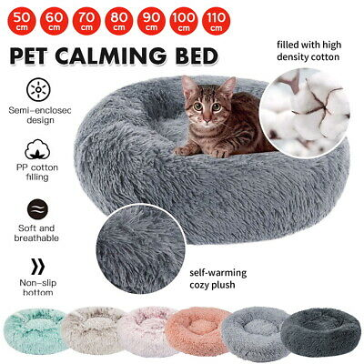 AU26.12 • Buy Pet Calming Bed Warm Soft Plush Round Nest Comfy Sleeping Kennel Cave Cat Dog