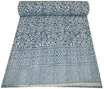 Traditional Indian Kantha Quilt Blanket Queen Vintage Bedding Throw Pure Cotton  • 46.48£