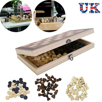 £9.95 • Buy 3 In 1 Folding Wooden Chess Set Checkers Backgammon Draughts Board Game Gift UK