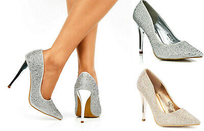 £21.99 • Buy Ladies High Heel Diamante Glitter Pointed Toe Evening Party Court Shoes 3-8