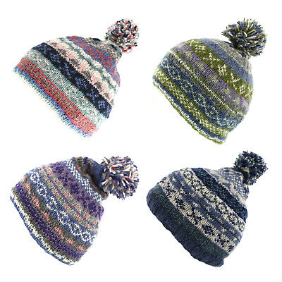 Pachamama Finisterre 100% Wool Bobble Hat Choice Of Colours Green/Blue/Oatmeal • 19.95£