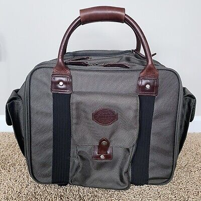 FILSON Travel Bag Green Leather Trim Rolling Carry-On Laptop Briefcase On Wheels • 135.86£