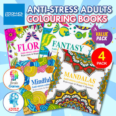 AU19.95 • Buy 4PK Adult Colouring Books Fun Relaxing Mindfulness Floral Mandalas Fantasy 150 X