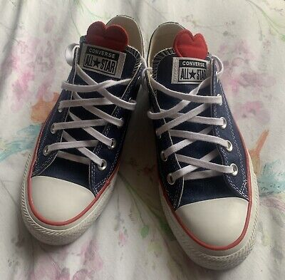 "Converse ""Love Works"" Blue Denim Heart Trainers UK Size 4 • 20.99£"