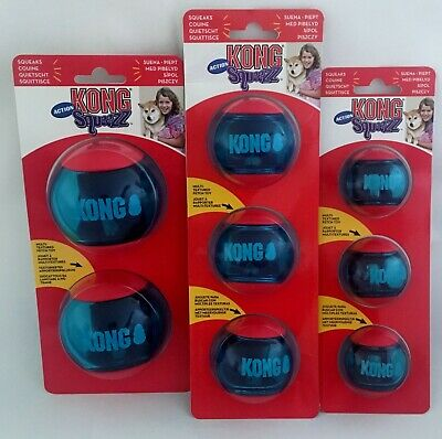 £9.99 • Buy KONG Squeezz Action Red Ball Pet Dog Puppy Toy Small Medium Large S/M/L 2&3 Pack