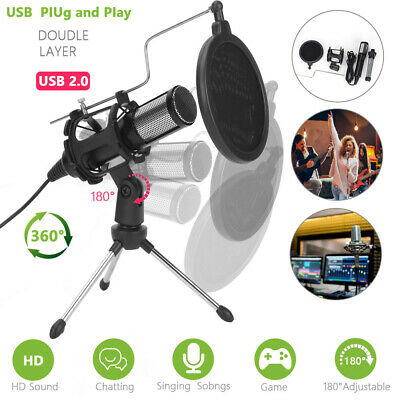 AU16.99 • Buy Professional USB Condenser Podcast Microphone For Gaming Recording Streaming