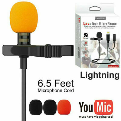 AU19.99 • Buy Lapel Lavalier Microphone For IPhone XS 11 12 Pro Max Music Video Recording Mic