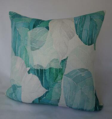 AU18.90 • Buy 60CM EURO Grey Teal & Turquoise Abstract Leaves Linen Look Lounge Cushion Cover