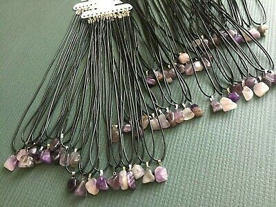 10 X Amethyst Pendant Necklace's Set On 24 Inch Wax Cord Necklace Lobster Clasp • 6.49£