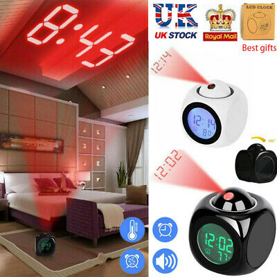 Digital Projection Alarm Clock With LCD Display Voice Talking LED Projector UK • 8.88£