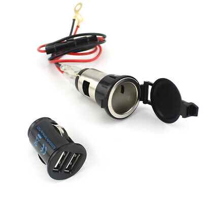Golden Cigar Lighter USB GPS Electric Outlet Vehicle-mounted Phone Charger • 5.06£