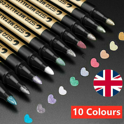 10Pcs Waterproof Metallic Paint Silver Marker Pens Sheen Glitter Arts DIY Kit • 8.99£