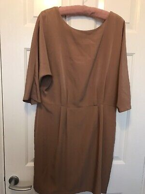 Topshop Lovely Silky Tan Short Dress Deep V-back And Zip Round Neck Size 14 Bnwt • 10£
