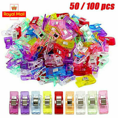 50/100x Wonder Clips Plastic For Quilting Fabric Knitting Sewing Crochet Clip UK • 10.89£