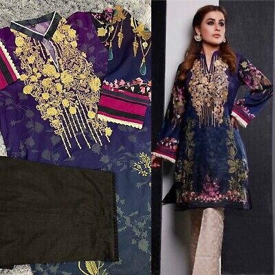 FIRDOUS 100% ORIGINAL STITCHED LAWN Embroidered KURTA With Pant LARGE • 29.99£