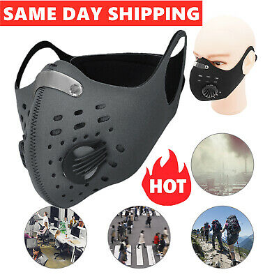 UK Face Mask Reusable Washable Anti Pollution PM2.5 Two Air Vent With Filter 01 • 5.89£