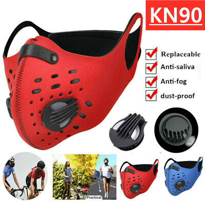 Double Vent Face Mask Reusable Washable Anti Air Pollution W/ PM2.5 Filter UK 01 • 5.49£
