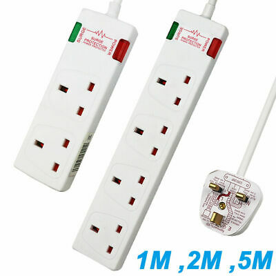 Surge Protected Extension Lead - 2 Or 4 Way Gang Plug Socket • 6.99£
